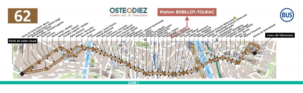 Itinéraire Cabinet osteopathe Paris Hopital privé des Peupliers - Aurelien Diez - OSTEODIEZ - Bus 62